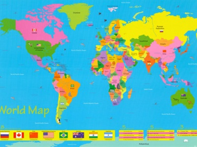 Incultureparent 10 best world maps for your childrens room bright and fun this map is great for countries and also has a few animals and flags thrown on it however it is a bit haphazard with the animal choices as gumiabroncs Choice Image